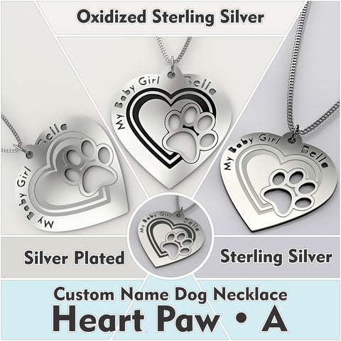 Personalized Dog Engraved Name NECKLACE • Dog Paw In Heart - A - Design Forms Of Art