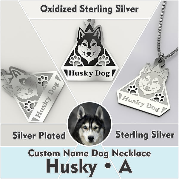 Personalized Dog Engraved Name NECKLACE • Husky - Design Forms Of Art
