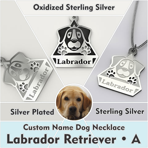 Personalized Dog Engraved Name NECKLACE • Labrador Retriever - Design Forms Of Art