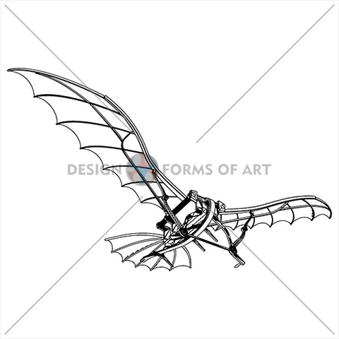 Da Vinci - Antique Flying Machine 01 - Vector - Design Forms Of Art