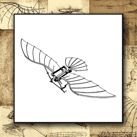Da Vinci - Antique Flying Machine - Vector 01a - Design Forms Of Art