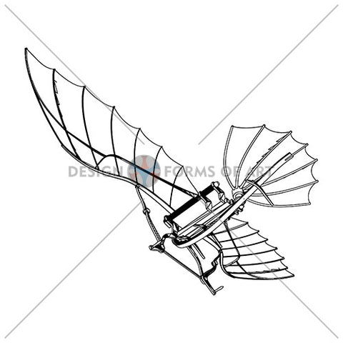 Da Vinci - Antique Flying Machine - Vector 01b - Design Forms Of Art