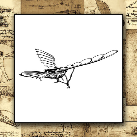 Da Vinci - Antique Flying Machine - Vector 01c - Design Forms Of Art