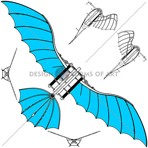 Da Vinci - Antique Flying Machine - Vector 02 - Design Forms Of Art