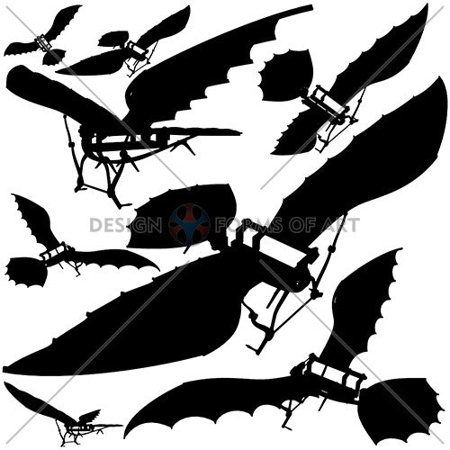 Da Vinci - Antique Flying Machine - Silhouettes Vector 03 - Design Forms Of Art