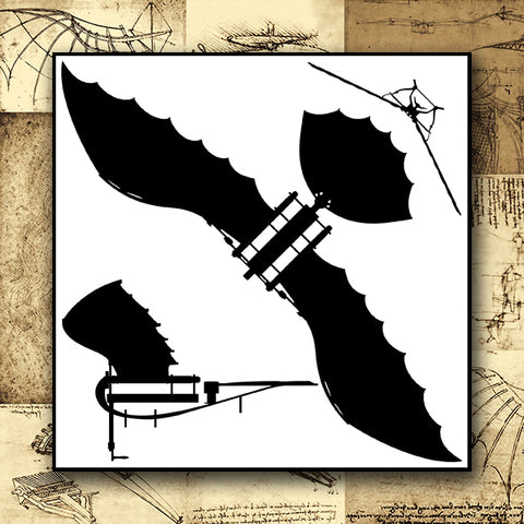 Da Vinci - Antique Flying Machine - Silhouettes Vector 04 - Design Forms Of Art