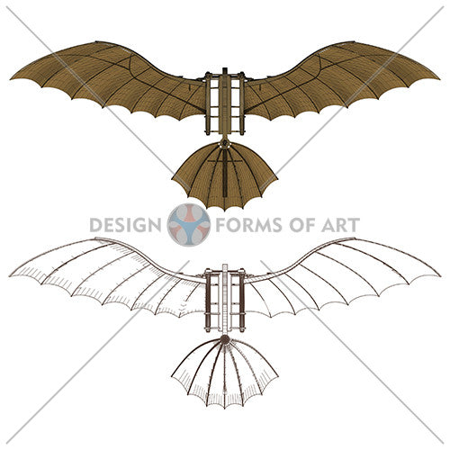 Da Vinci - Antique Flying Machine - Vector 05 - Design Forms Of Art