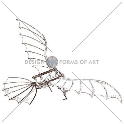 Da Vinci - Antique Flying Machine - Vector 07 - Design Forms Of Art