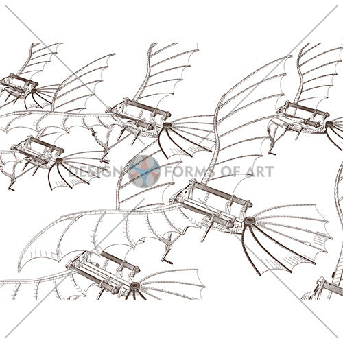 Da Vinci - Antique Flying Machine Swarms - Vector 08 - Design Forms Of Art