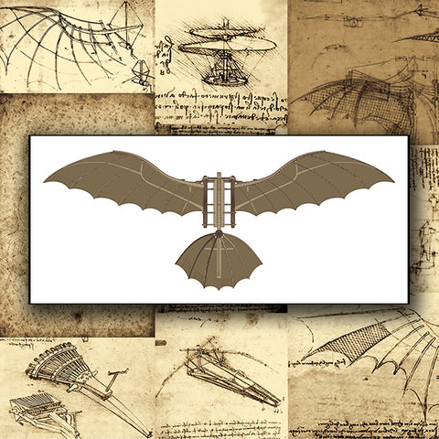 Da Vinci - Antique Flying Machine - Vector 09 - Design Forms Of Art
