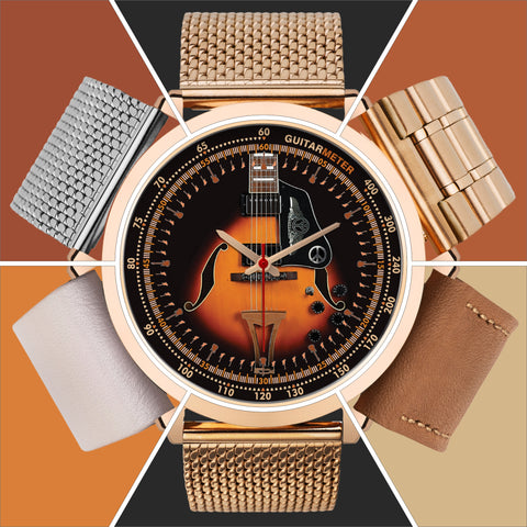 Electric Guitar - Ibanez • ROSE GOLD • Luxury Art Watch - Design Forms Of Art