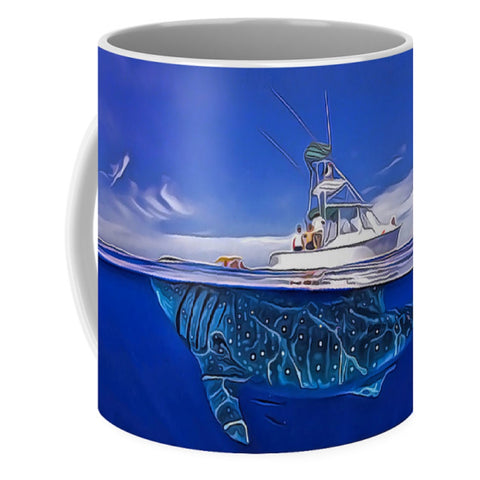 Enormous Huge Whale Shark Under The Boat - Painting - Mug - Design Forms Of Art