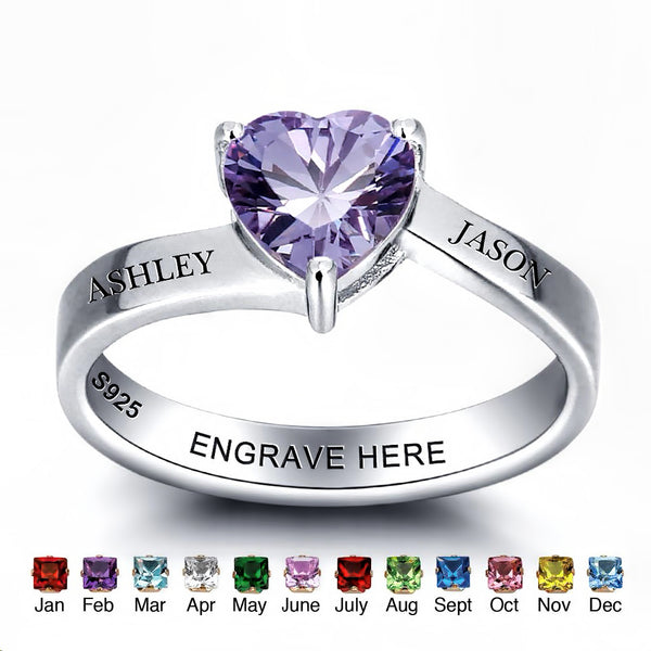 Customized Birthstone Silver Ring F • Free Shipping - Design Forms Of Art