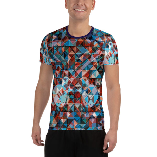 Find The Gibson Les Paul Guitar | All-Over Print Men's Athletic T-shirt - Design Forms Of Art