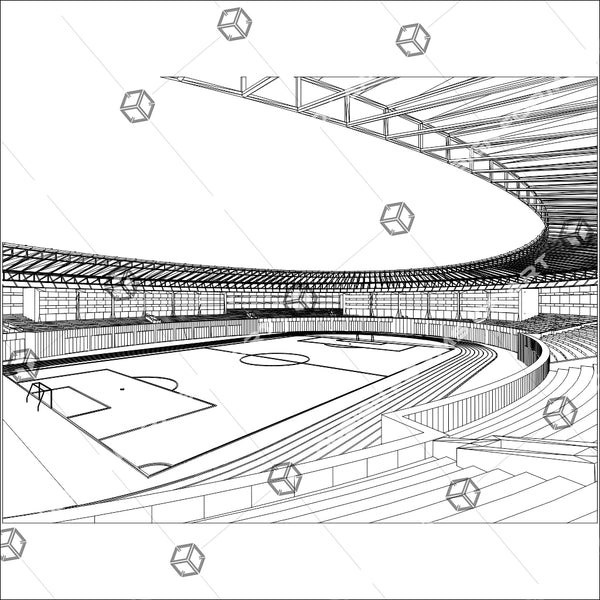 Football Soccer Stadium Illustration Isolated On White Background 02 - Vector - Design Forms Of Art