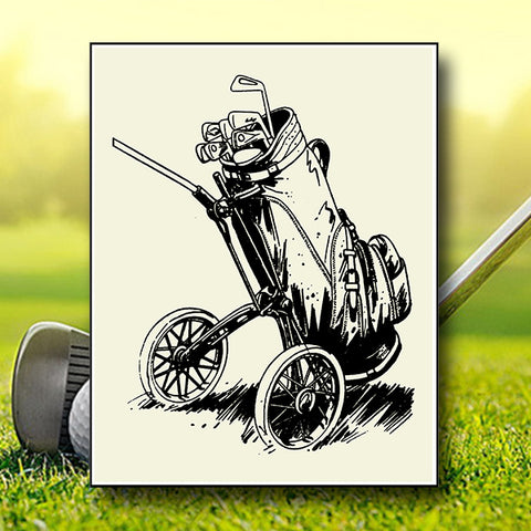 Retro Vintage Golf Bag In The Grass 01 - Vector - Design Forms Of Art