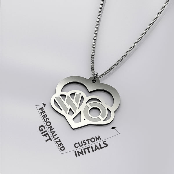Personalized Two Initial In Heart NECKLACE • Mothers Day - Design Forms Of Art