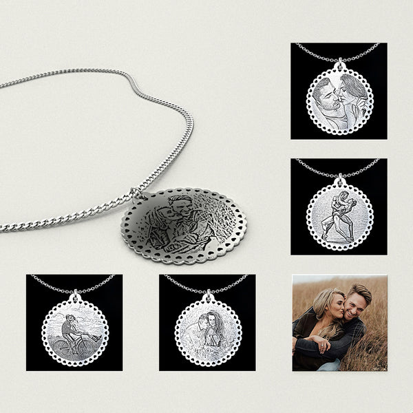 Personalized Happy Couple Photo Pendant Necklace - B