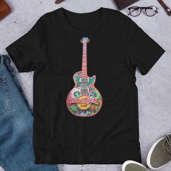 Hard Rock Cafe - Gibson Les Paul - Guitar | Short-Sleeve Unisex T-Shirt - Design Forms Of Art