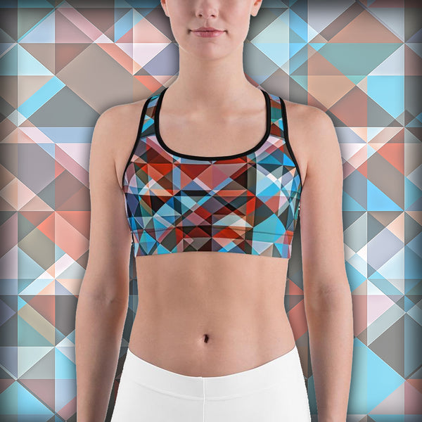 Hipster Triangle Colorization - Sports bra - Design Forms Of Art