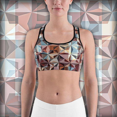 Hipster Trianguallization - Sports bra - Design Forms Of Art