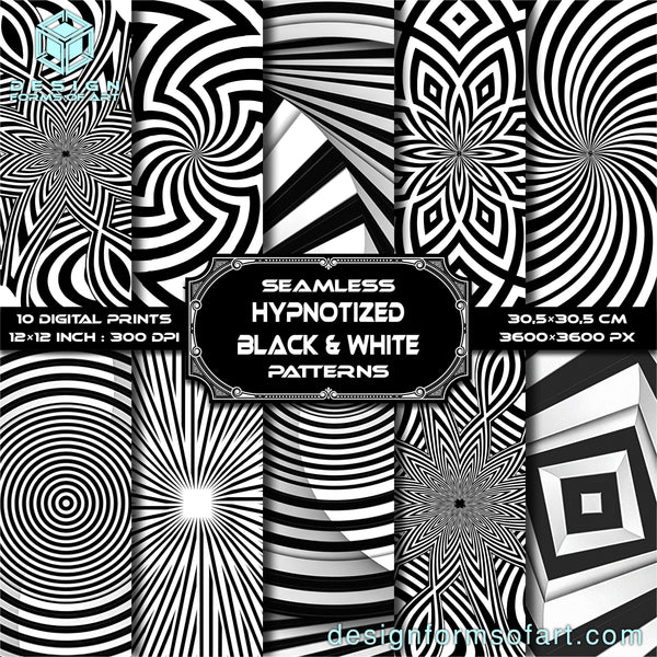 Hypnotized Black & White Hypnotic Digital Scrapbook Paper