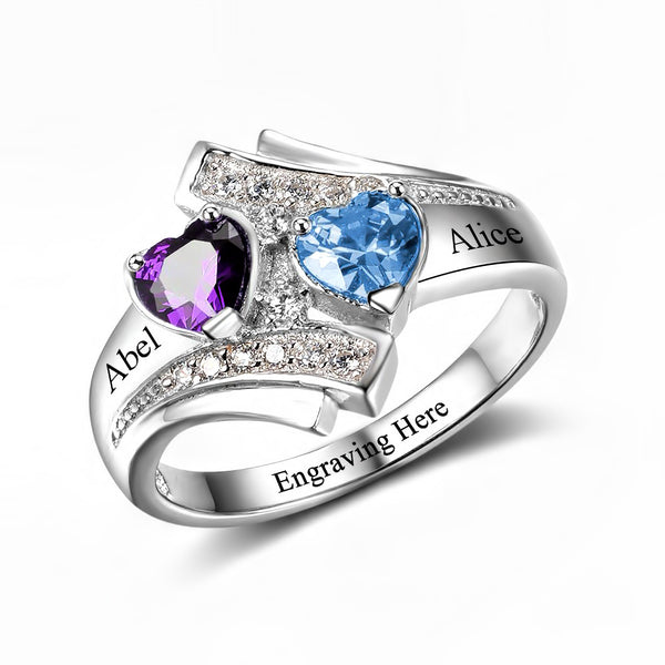 Customized Birthstone Silver Ring I • Free Shipping - Design Forms Of Art