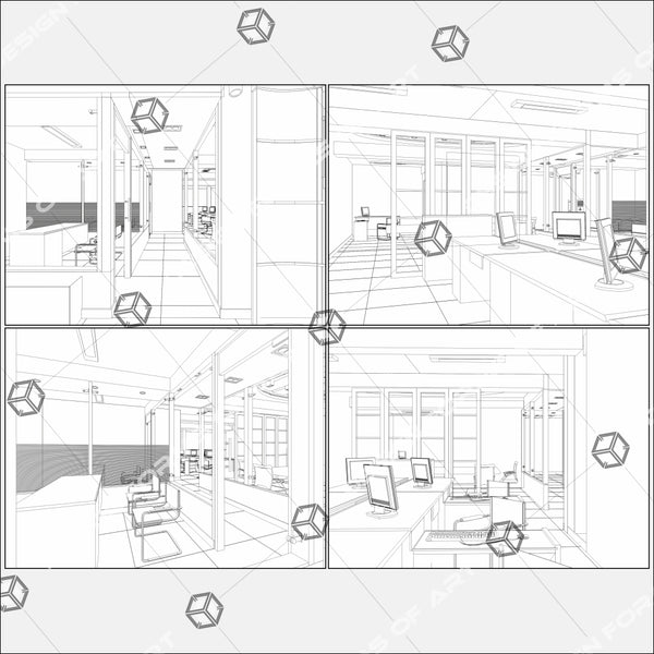 Interior Office Rooms Isolated On White Background 01 - Vector