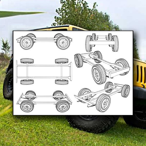 Jeep Four Wheels Suspension System 01 - Vector - Design Forms Of Art