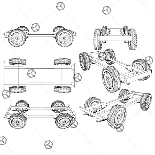 Jeep Four Wheels Suspension System 01 - Vector