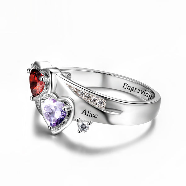 Customized Birthstone Silver Ring K • Free Shipping - Design Forms Of Art