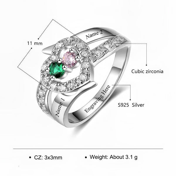 Customized Birthstone Silver Ring L • Free Shipping - Design Forms Of Art