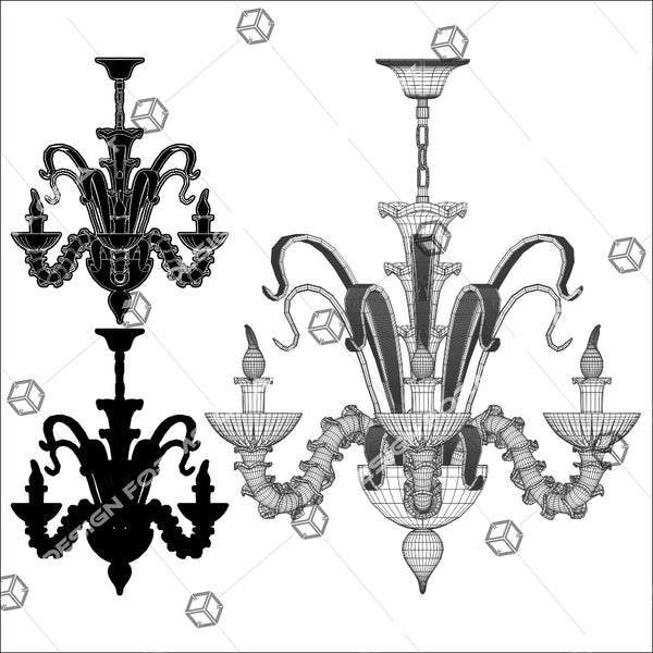 Antique Retro Vintage Luster Chandelier 01 - Vector - Design Forms Of Art