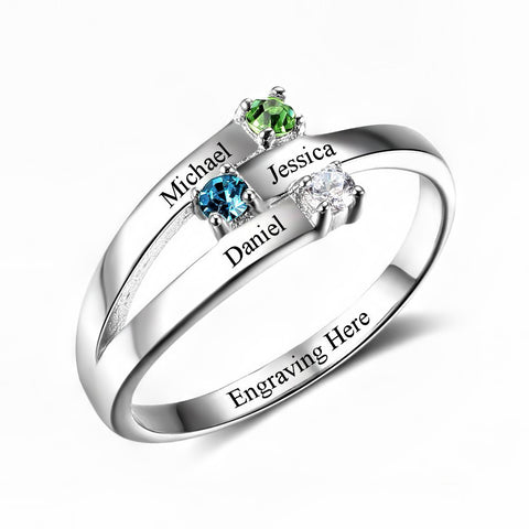 Customized Birthstone Silver Ring M • Free Shipping