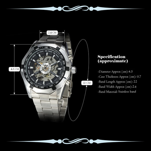 Men Skeleton Automatic Watch • Free Shipping - Design Forms Of Art