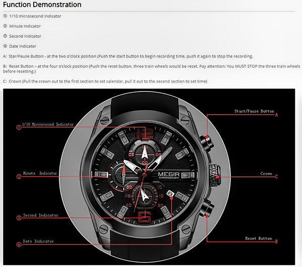 Multifunctional Sport Man Watch - Design Forms Of Art