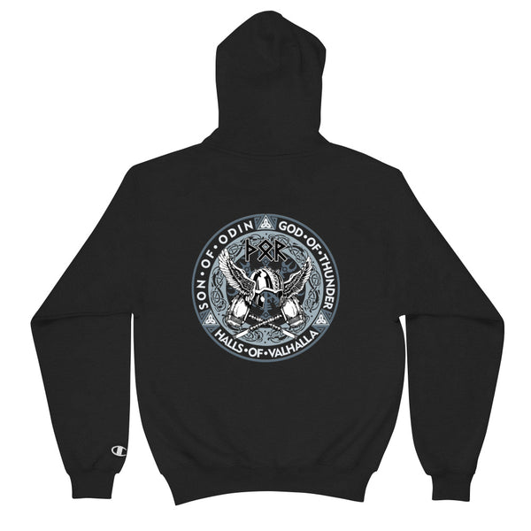 Back To Back - Odin And Thor  - Champion Hoodie - Design Forms Of Art