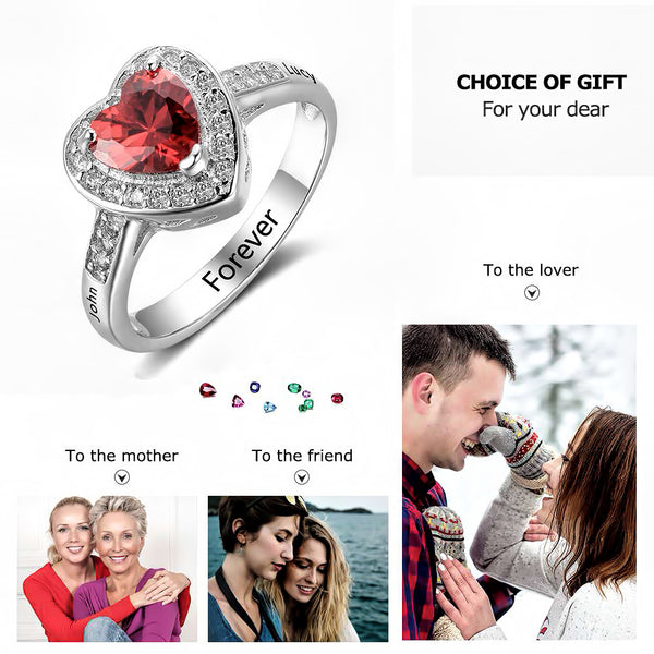 Customized Birthstone Silver Ring O • Free Shipping - Design Forms Of Art