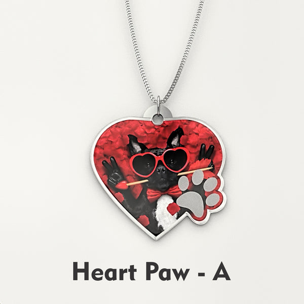 Personalized Pet Photo Engraved NECKLACE • Heart Paw - Design Forms Of Art