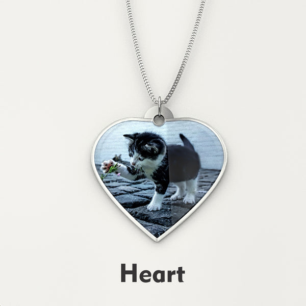 Personalized Pet Photo Engraved NECKLACE • Heart - Design Forms Of Art