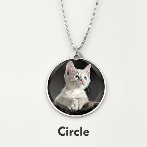 Personalized Pet Photo Engraved NECKLACE • Circle - Design Forms Of Art