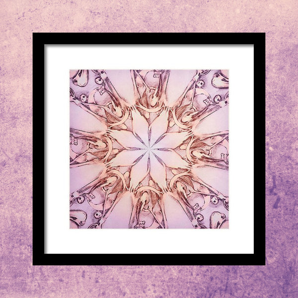 Pink Engravingdness  - Colored Pencils - Framed Print - Design Forms Of Art