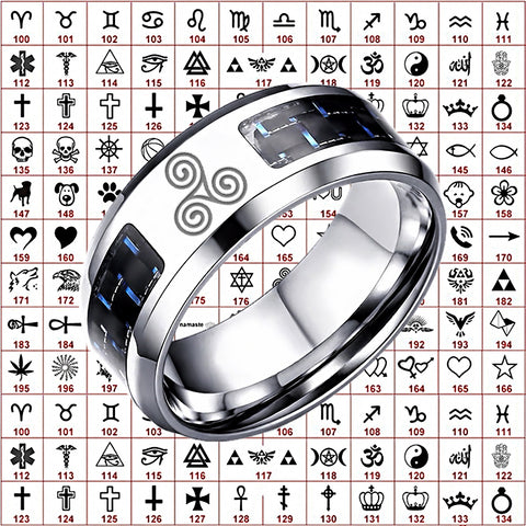 Customized Man Silver Carbon Ring R • Free Shipping