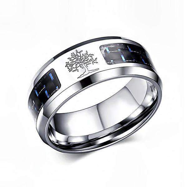 Customized Man Silver Carbon Ring R • Free Shipping - Design Forms Of Art