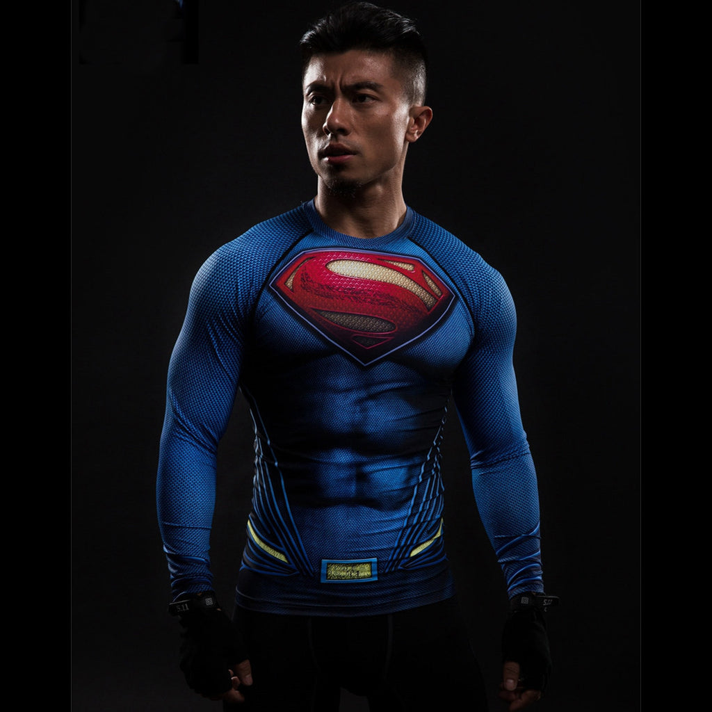 Superman Compression Long Sleeve Shirt - Design Forms Of Art