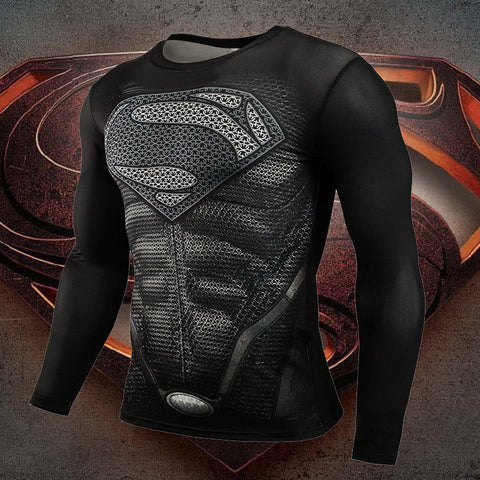Superman Compression Long Sleeve Shirt - A • Free Shipping