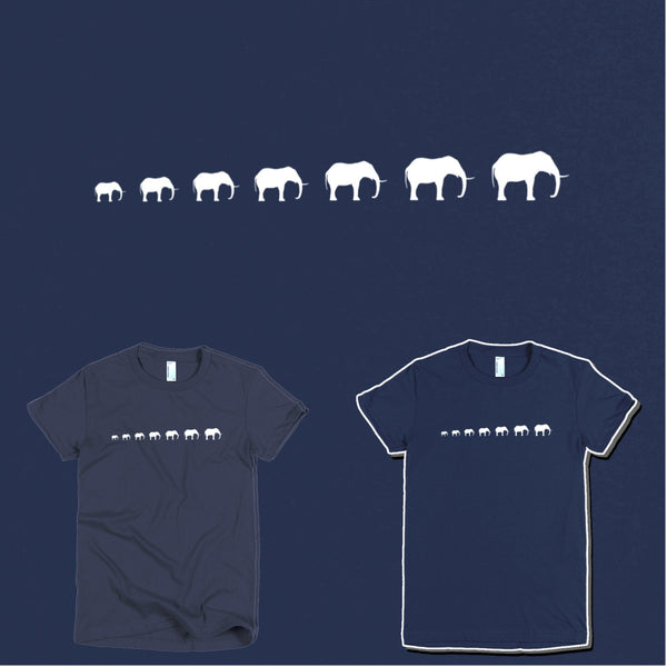 Seven Elephants Short Sleeve Women T-Shirt - Design Forms Of Art