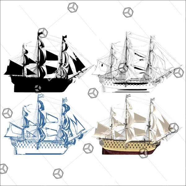 The Ancient Antique Battleship 01 - Vector - Design Forms Of Art