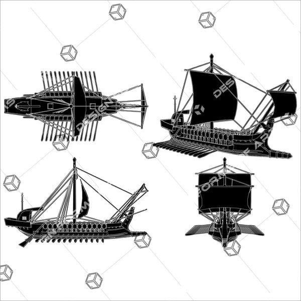 The Ancient Greek Ship 01 - Vector - Design Forms Of Art