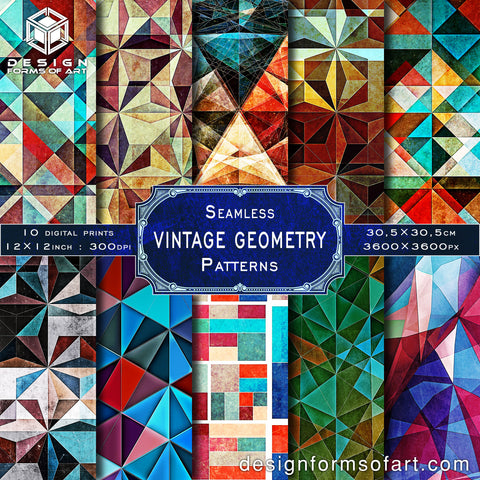 Vintage Geometry Digital Grunge Scrapbook Paper